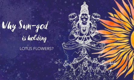 Why Sun god is holding lotus flowers?